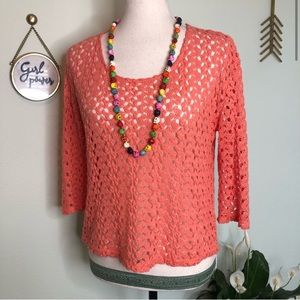 UO Staring At Stars Coral Crochet 3/4 Sweater XS